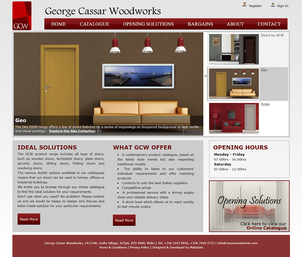 Screenshot George Cassar Woodworks