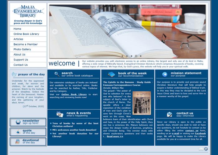 Screenshot For Malta Evangelical Library