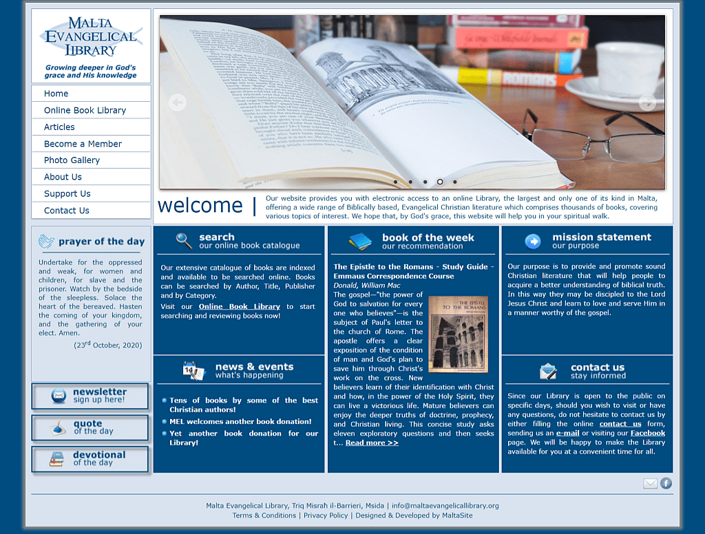 Screenshot for Malta Evangelical Library